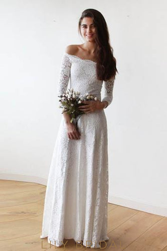 Off-The-Shoulder 3/4 Sleeve Floor-Length Floral Lace Wedding Dress