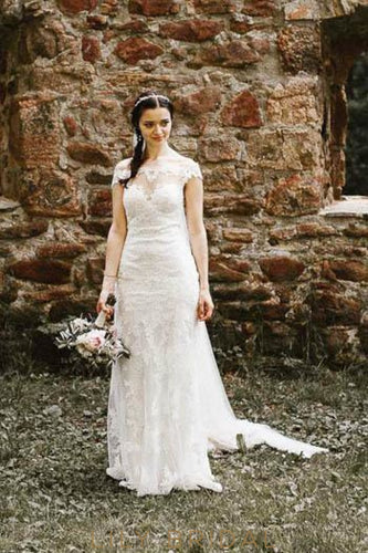 Off-The-Shoulder Floor-Length Lace Illusion Mermaid Bridal Dress