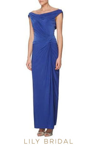 Off-The-Shoulder Floor-Length Sheath Bridesmaid Dress With Cowl Back