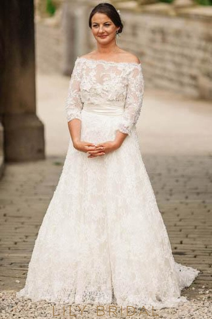 Off-The-Shoulder 3/4 Sleeve Lace Illusion Plus Size Wedding Dress