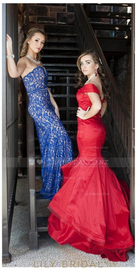 Off-The-Shoulder Layered Cut Out Taffeta Mermaid Prom Dress