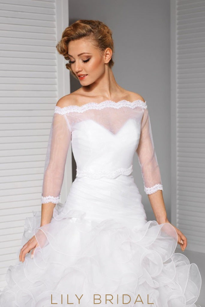 Off-The-Shoulder Sheer Tulle Bridal Cape