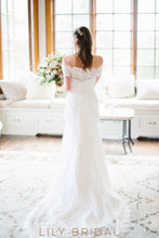 Fit and Flare Off-the-shoulder Swag Sleeves Wedding