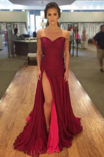 Off-The-Shoulder Sweetheart Drop Waist Burgundy Prom Dress With Thigh Split