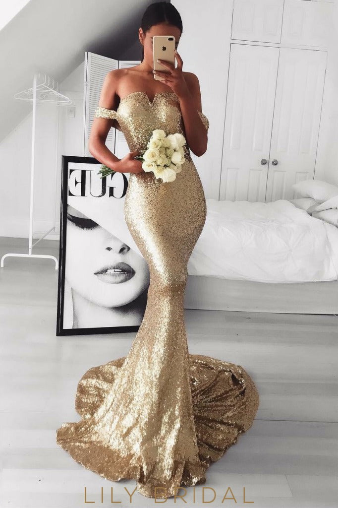 Off-the-Shoulder Sweetheart Neckline Long Mermaid Prom Dress with Sweep Train