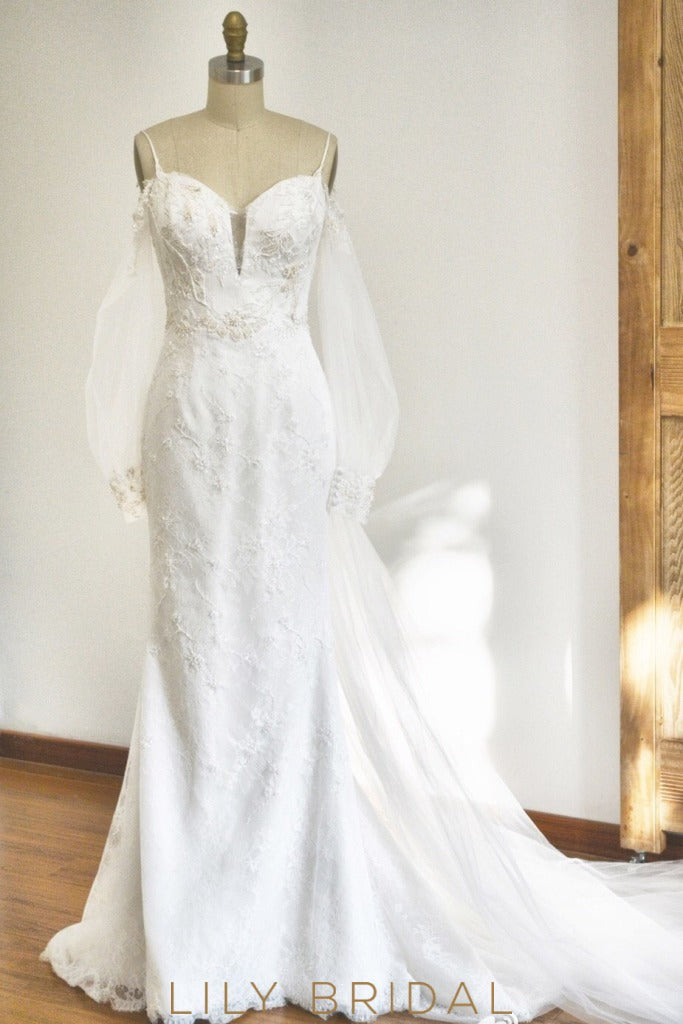 Chic Puffy Sheer Long Sleeves Spaghetti Straps Off-The-Shoulder Wedding Dress