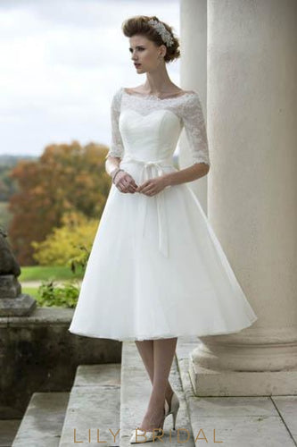 Off-The Shoulder 1/2 Sleeve Tea-Length Bridal Dress With Belt