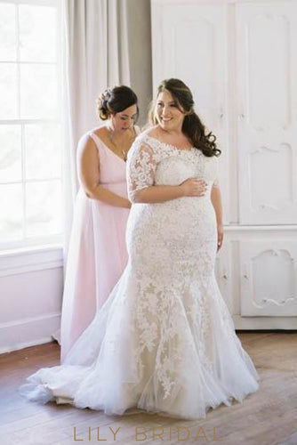 Off-The-Shoulder 1/2 Sleeve Tulle Lace Illusion Plus Size Wedding Dress With Beads