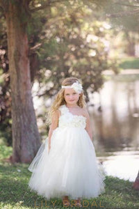 One-Shoulder Ankle Length Ball Gown Tulle Flower Girl Dress With Hand-Made Flowers