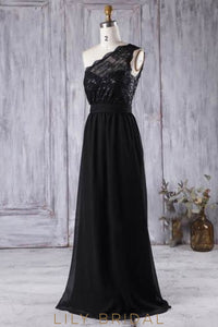 One-Shoulder Black Formal Bridesmaid Dress With Lace Bodice