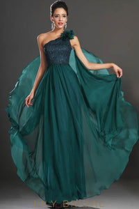One-Shoulder Corsage Formal Evening Dress With Beaded Bodice