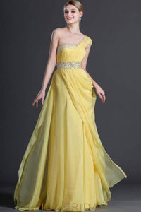 One-Shoulder Floor-Length Asymmetrical Chiffon Evening Dress With Beading