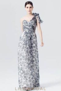 One-Shoulder Floor-Length Chiffon Floral Print Evening Dress With Ruched Bodice