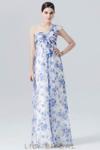 One-Shoulder Floor-Length Floral Print Evening Dress With Ruffles