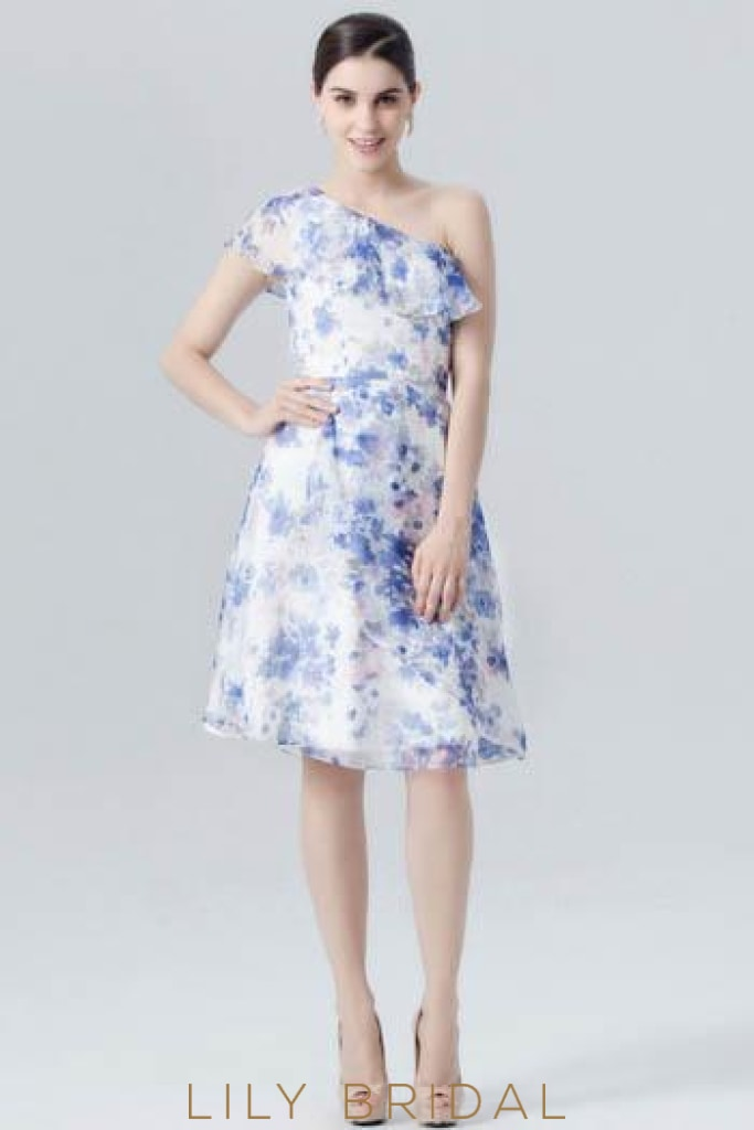 One-Shoulder Floral Print Chiffon Overlap Cocktail Dress With Ruffles