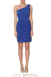 One-Shoulder Jersey Short Bridesmaid Dress With Ruching
