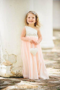 One-Shoulder Pearl Pink Floor-Length Chiffon Flower Girl Dress With Crystals