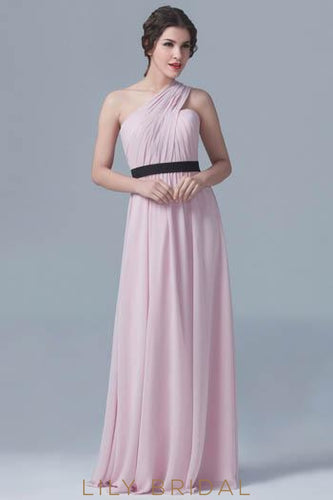 One-Shoulder Pleated Chiffon Bridesmaid Dress With Belt