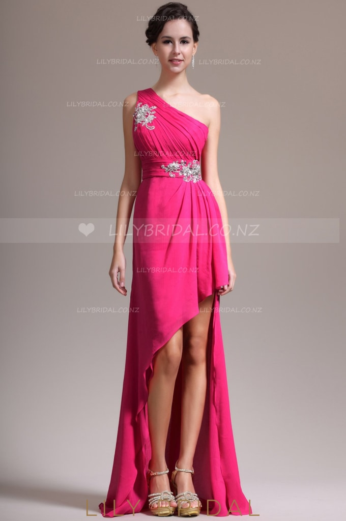 ruched-high-low-chiffon-evening-dress-with-exquisite-applique