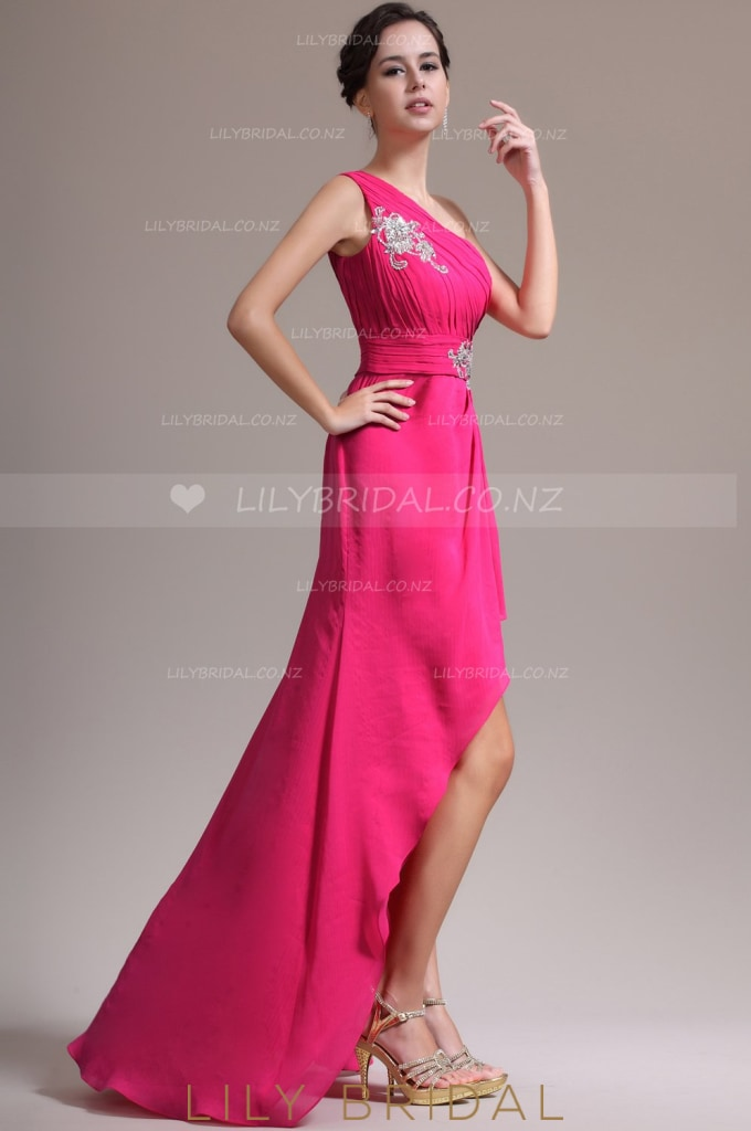one-shoulder-ruched-high-low-chiffon-evening-dress-with-applique