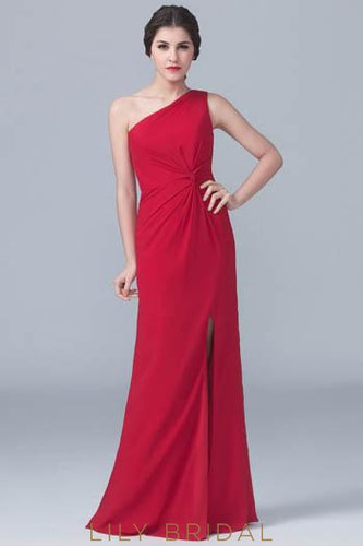 One-Shoulder Ruched Satin Formal Evening Dress With Slit