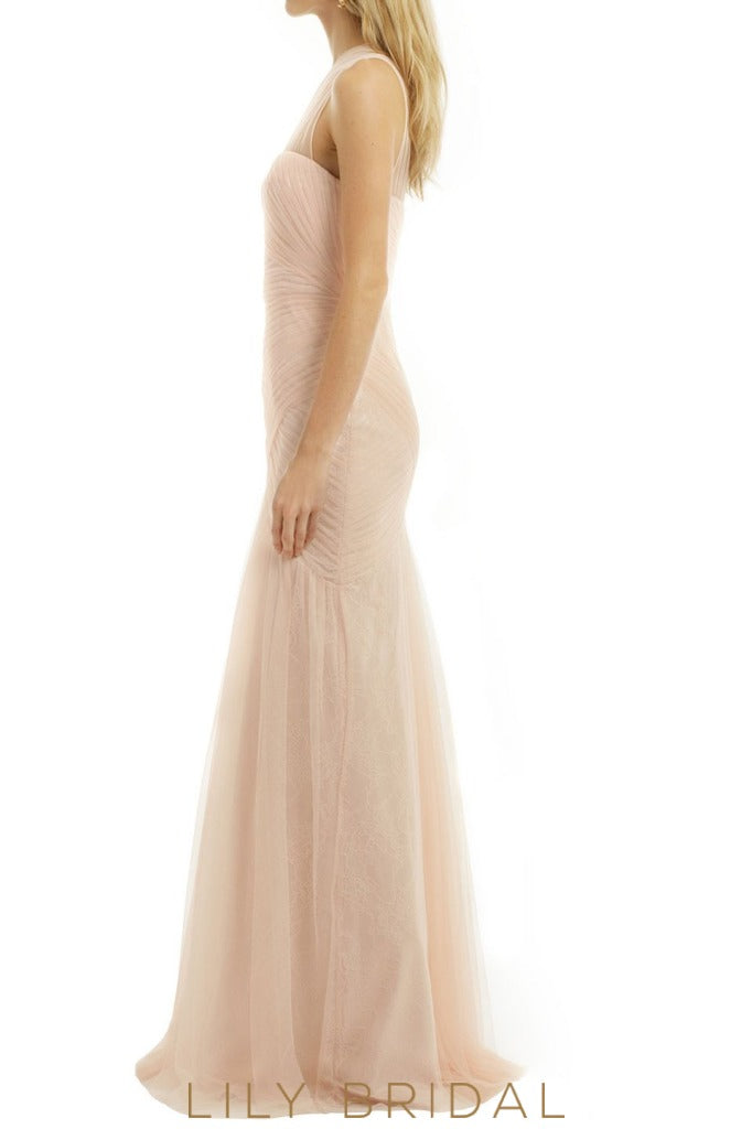 Champagne Illusion One Shoulder Sleeveless A-Line Bridesmaid Dress