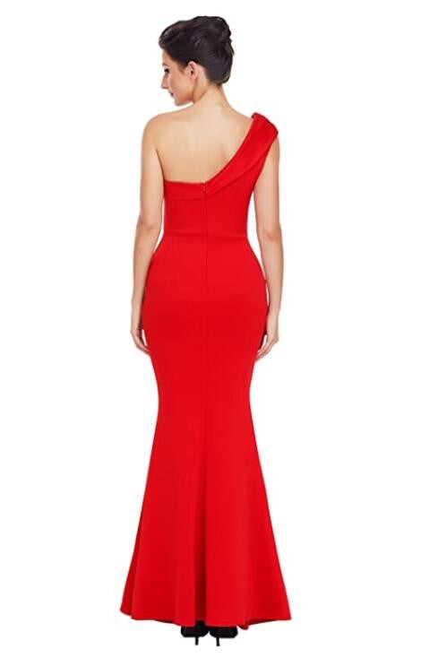 Elegant One Shoulder Sleeveless Zip-Up Ankle-Length Mermaid Mother Of The Bride Dress