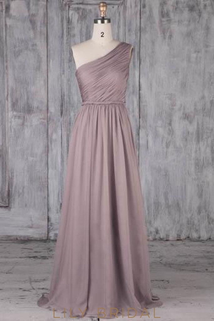 One Shoulder Sleeveless Long Solid Ruched Sheath Chiffon Bridesmaid Dress