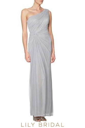 One-Shoulder Split Chiffon Bridesmaid Dress With Ruched Bodice