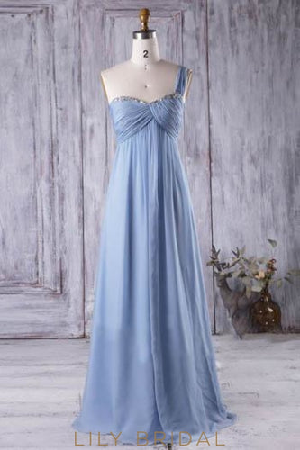 One-Shoulder Sweetheart Empire Waist Bridesmaid Dress With Sequins & Beads