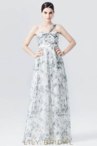 One-Shoulder Sweetheart Neckline Floor-Length Floral Print Evening Dress