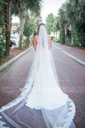 One Tier Cathedral Bridal Veil With Lace along the Edge