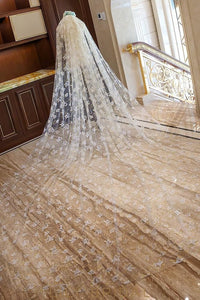 One Tier Cathedral Veil with Massive Circle & Leaf Motifs Scattered