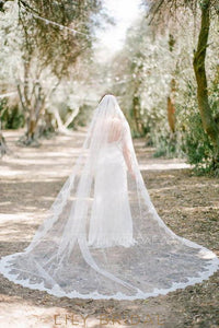 One Tier Cathedral Wedding Veil With Lace Edge