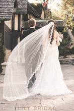 One Tier Chapel Length Lace Trim Waterfall Wedding Veil