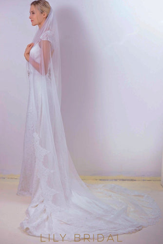 One Tier Chapel Length Lace Veil with Pearl Scattered