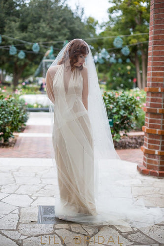 crystal scattered weeding veil