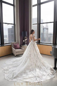 Open Back Cap Sleeve Overskirt Cathedral Bridal Dress With Petals