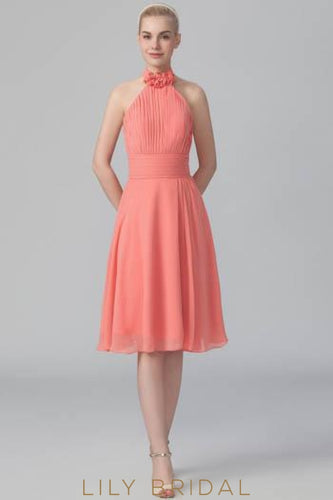 Open Back Halter Ruched Chiffon Short Bridesmaid Dress
