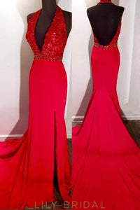 Open Back Halter V-Neck Court Train Prom Dress With Beaded Lace Bodice