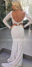 Open Back Long Sleeve Low V-Neck Lace Cut Out Prom Dress