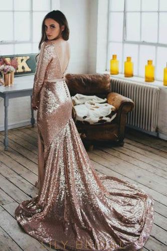Open Back Long Sleeve Low V-Neck Sequin Mermaid Wedding Dress With Thigh Split