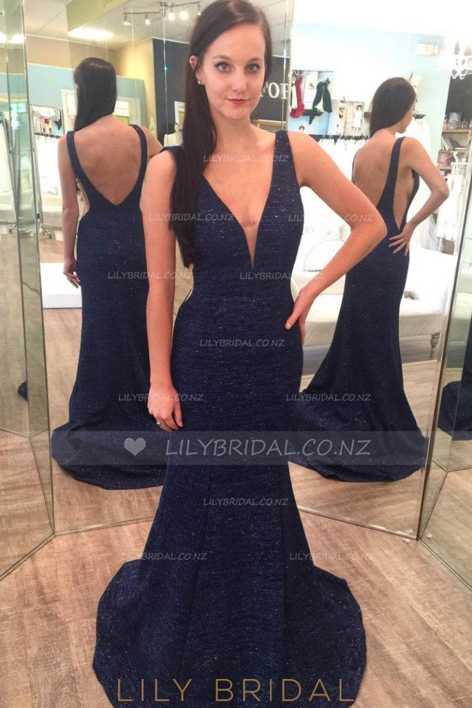 Open Back Plunging V-Neck Side Cut Out Sweep Train Evening Dress