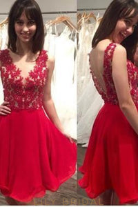 Open Back Red Chiffon Cocktail Dress With Beaded Lace Bodice