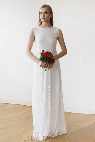 Open Back Sleeveless Jewel Neck Floral Floor-Length Lace Wedding Dress