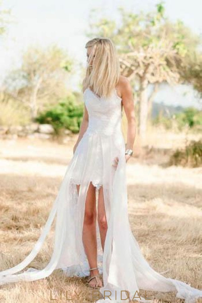 Boho Open Back Spaghetti Strap Lace High-Low Wedding Dress With Panel Train