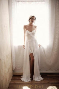 Boho Open Back Spaghetti Strap Lace Tulle Wedding Dress With High Side Slit