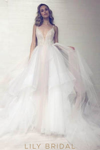 Open Back Spaghetti Strap Plunging V-Neck Tulle Cathedral Wedding Dress With Sparkling Sequin Bodice