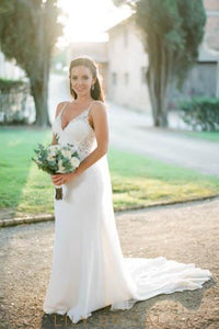 Open Back Strap Low V-Neck Satin Mermaid Bridal Dress With Beaded Lace