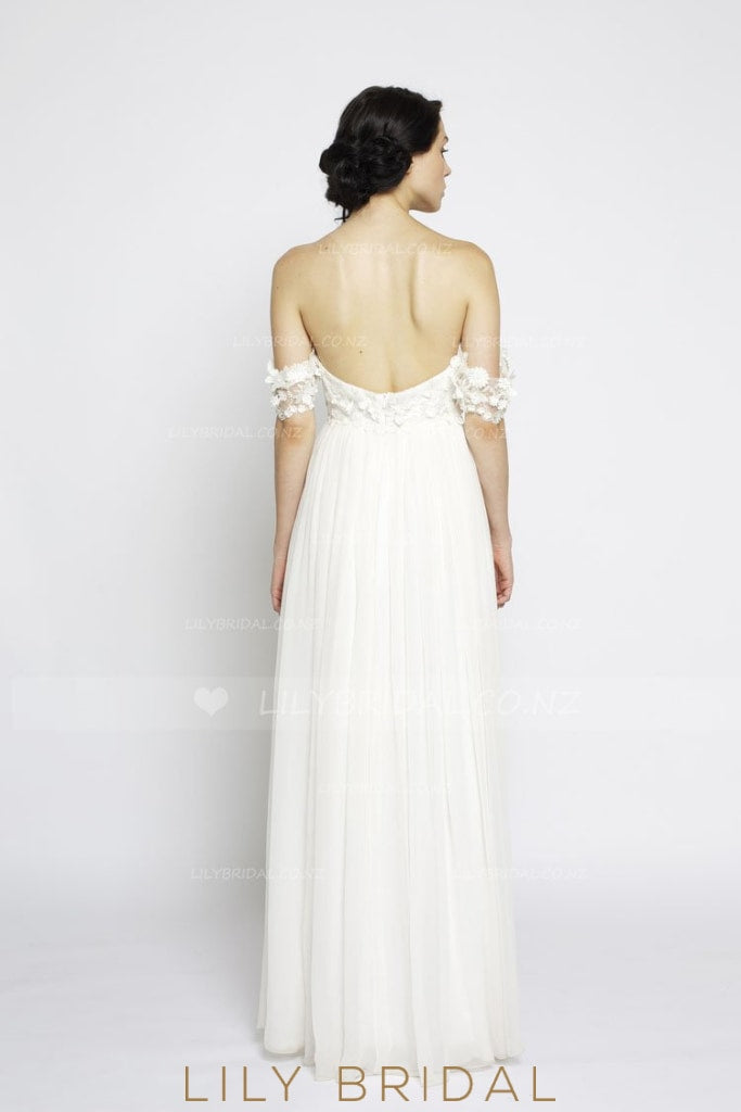 Boho Open Back Sweetheart Neck Ivory Chiffon Bridal Dress With 3D Flowers